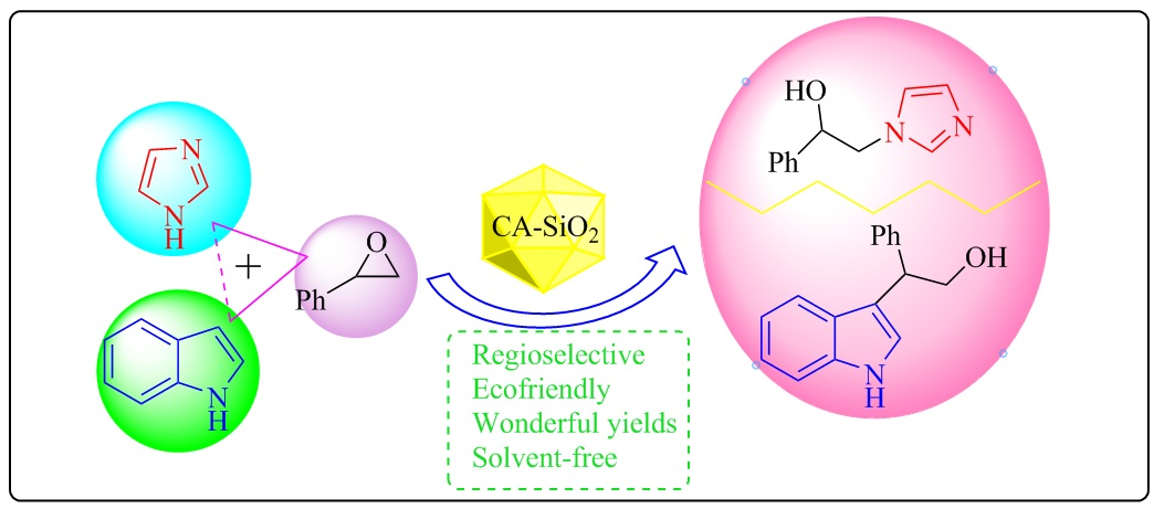 Caro's Acid-Silica Gel Catalyzed Regioselective Ring Opening of Epoxides with Indoles and Imidazoles under Solvent-Free Conditions